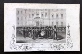 Tyrrell Crimean War 1858 Print. Her Majesty taking leave of the Fusilier Guards